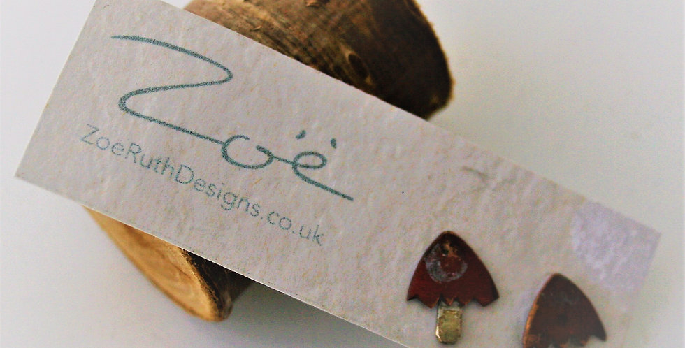 Zoe Ruth Silver and Copper Toadstool Studs