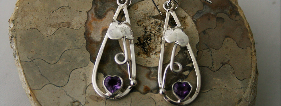 Helen West Amethyst and Silver Leaf Drop Earrings