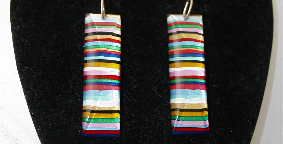 Rowena Park Acrylic Pastel and Gold Candy stripe Rectangular Earrings