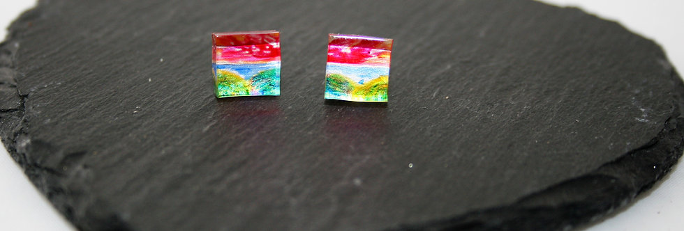 Rowena Park Acrylic Pink and Green Landscape Small Square Stud Earrings