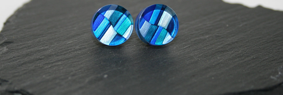 Rowena Park Acrylic Blue Squares large Stud Earrings