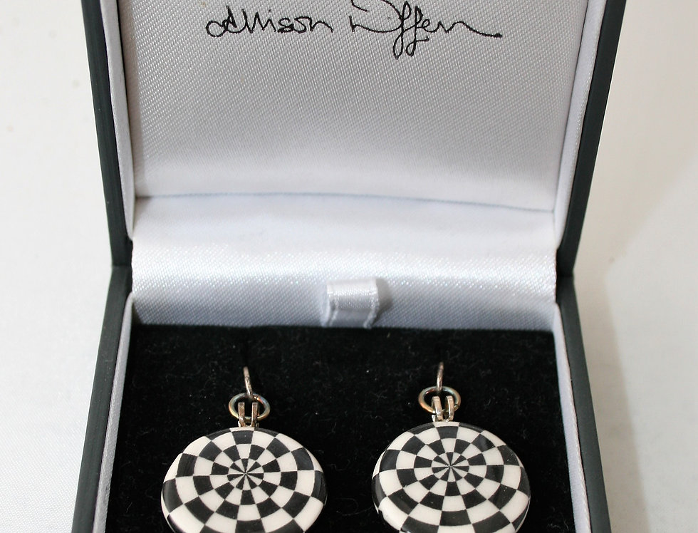 Alison Wiffen Ceramic Monochrome Dartboard Earrings