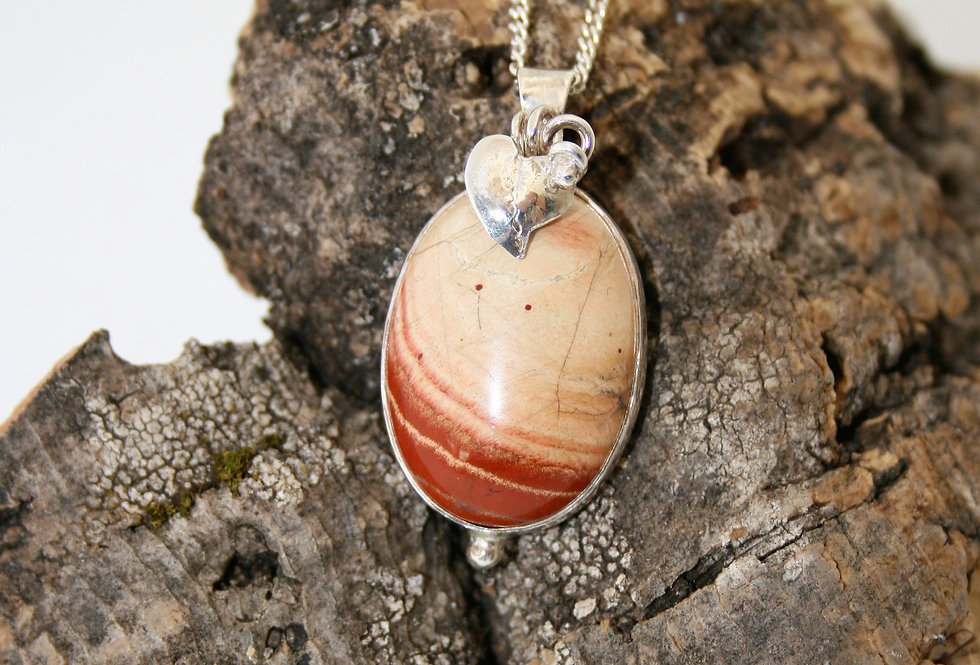 Helen West Jasper and Silver Leaf Pendant