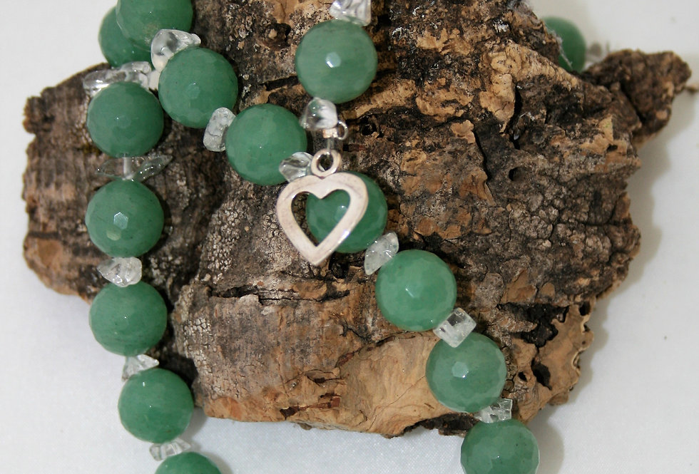 Helen West Green Agate and Rock Crystal Beaded Necklace