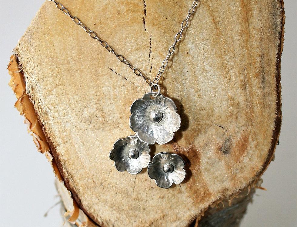 Zoe Ruth Silver Flower Trio Necklace