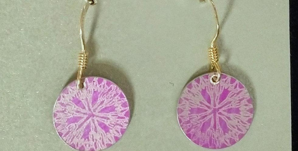 Botanicol- Coloured Aluminium Small Disc Drop Earrings- Pink