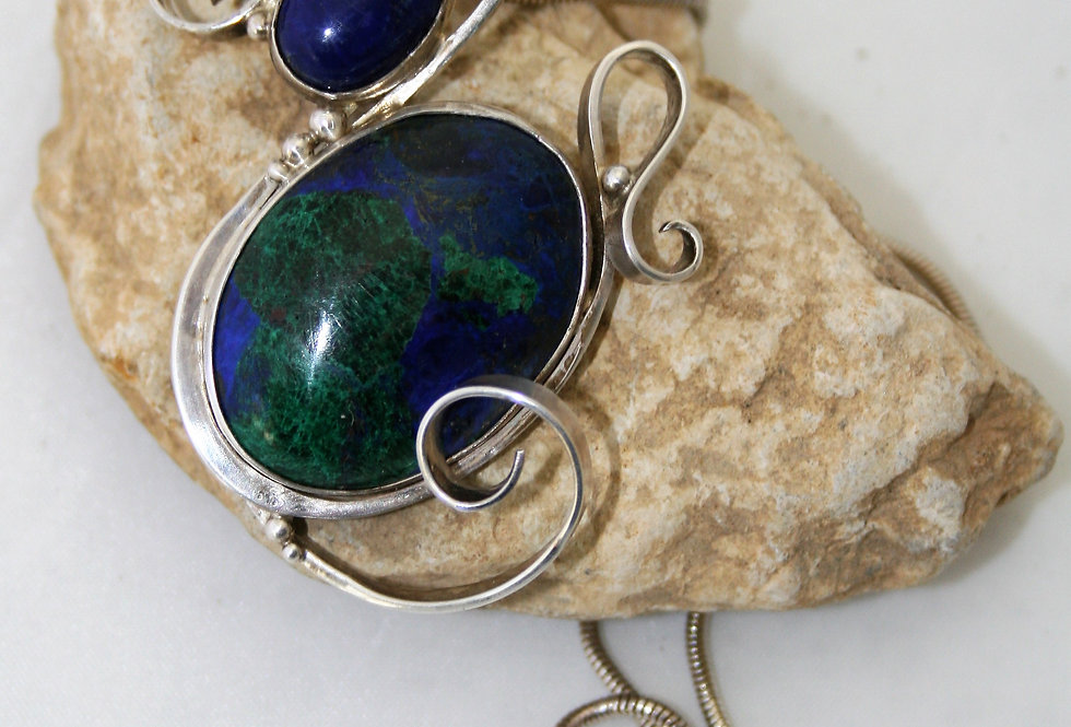 Helen West and Lapis Lazuli Silver Swirl Pendant