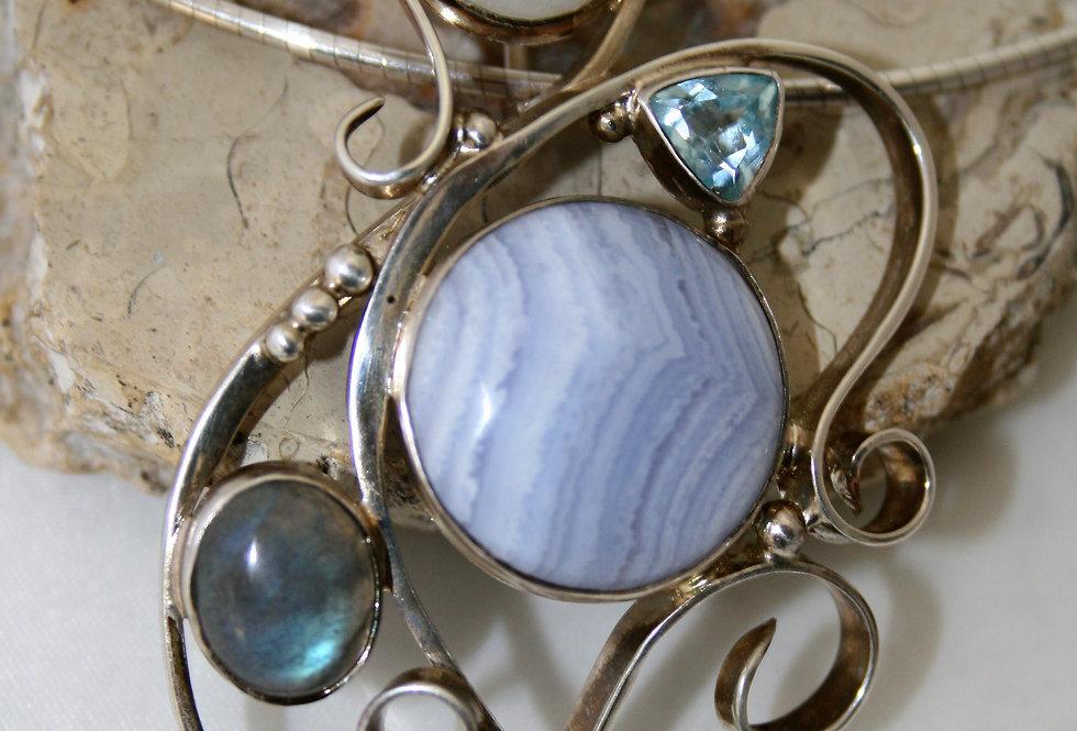 Helen West Silver Swirl Gemstone and Silver Wire Necklace
