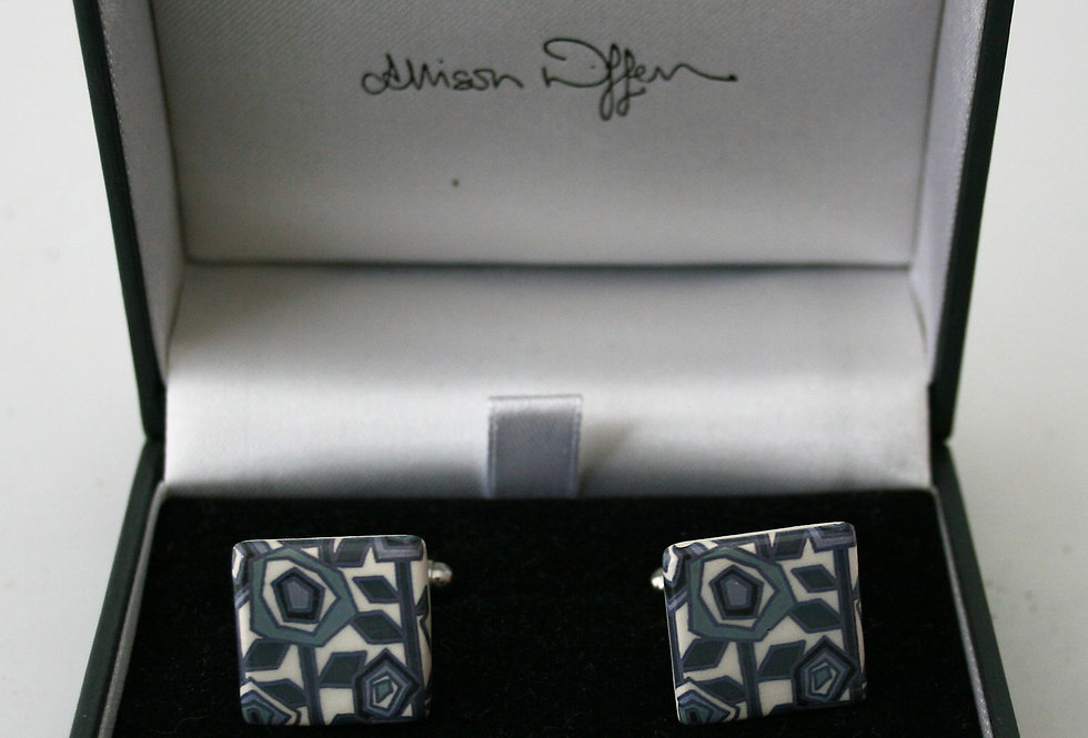 Alison Wiffen Ceramic Retro Blue Floral Cufflinks