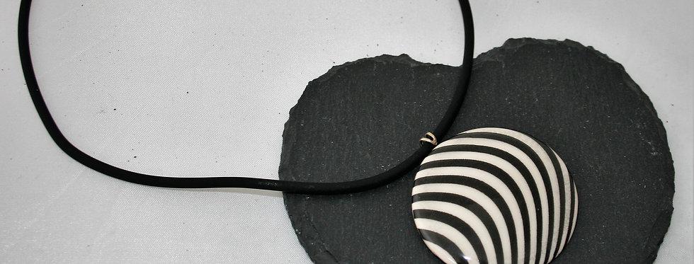 Alison Wiffen Ceramic Monochrome Wavy Lines Pendant