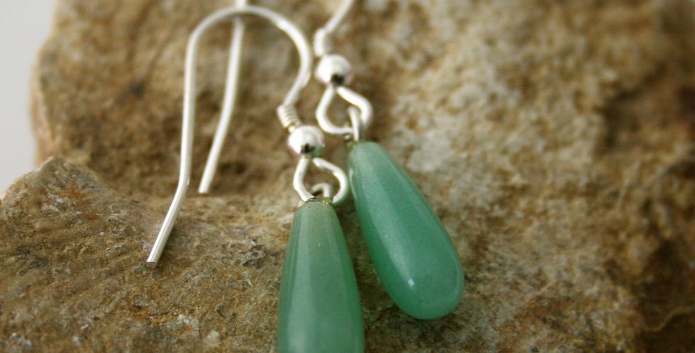 Helen West Adventurine and Silver drop Earrings