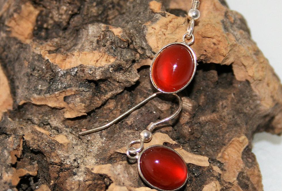 Helen West Carnelian and Silver Oval drop earrings- Small