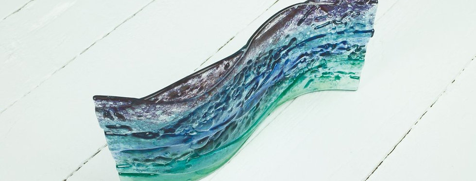 Jo Downs -Dawn Seascape Glass Wave Stand