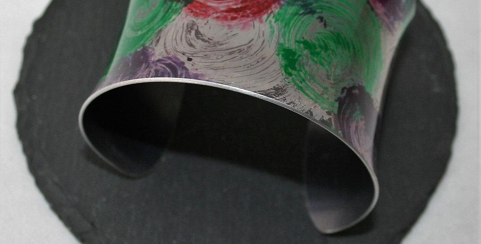 Miranda Peckitt Aluminium Cuff, Green and Purple- Large