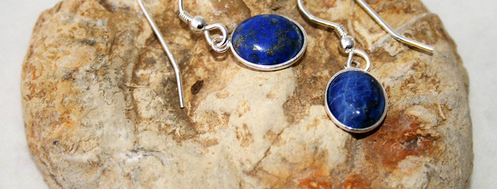 Helen West Lapis Lazuli and Silver Oval Drop Earrings - Small