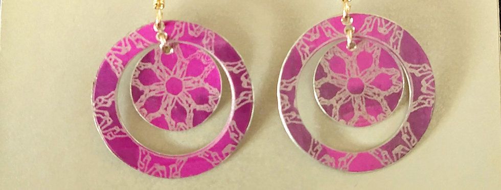 Botanicol- Coloured Aluminium Disc Drop Earrings, Pink