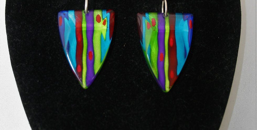 Rowena Park Acrylic Bright Striped Triangular Earrings