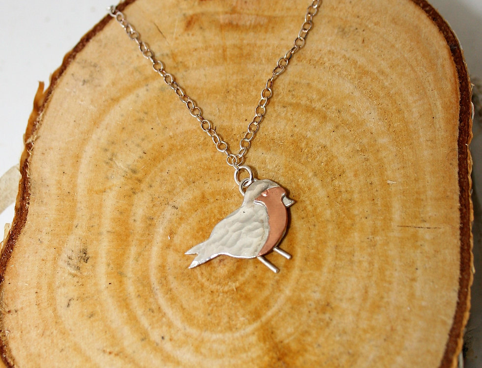 Zoe Ruth Silver and Copper Robin Necklace