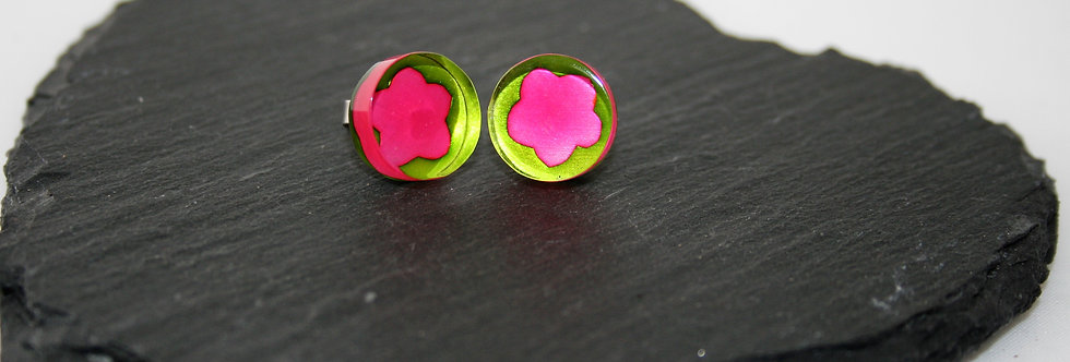 Rowena Park Acrylic Pink and Green Flower large Stud Earrings