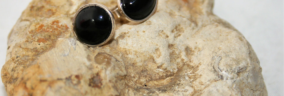 Helen West Onyx and Silver Oval Studs