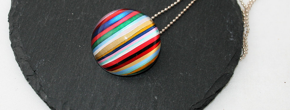 Rowena Park Acrylic Pastel and Gold Candy stripe Pendant