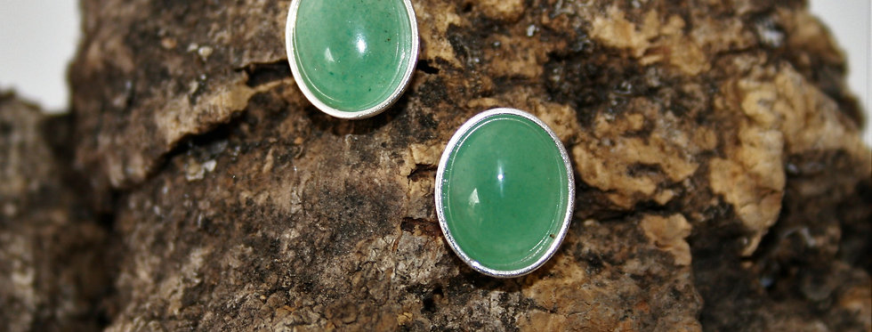 Helen West Aventurine and Silver Oval Studs