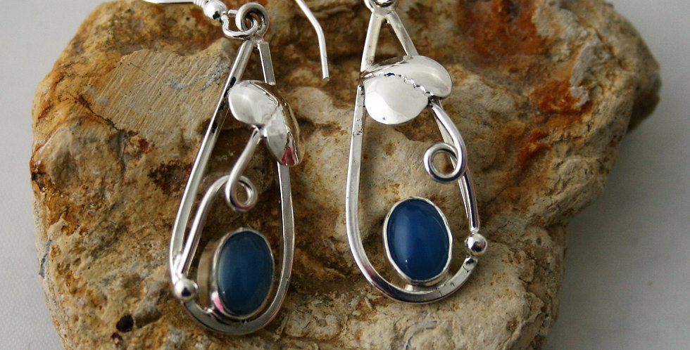Helen West Blue Agate and Silver Leaf Drop Earrings