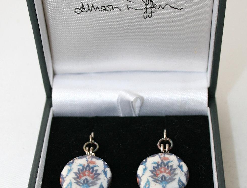 Alison Wiffen Ceramic Willam Morris Style Floral Earrings