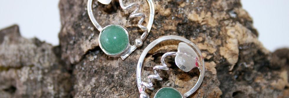 Helen West Aventurine and Silver Leaf Swirl Earrings