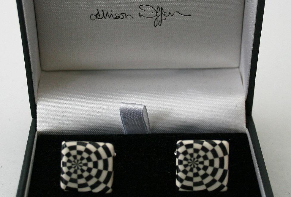 Alison Wiffen Ceramic Monochrome Dartboard Cufflinks