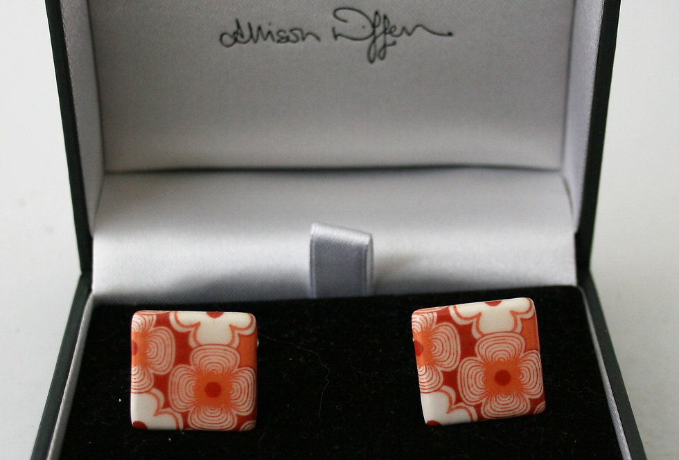 Alison Wiffen Ceramic Retro Orange 70's Style Cufflinks