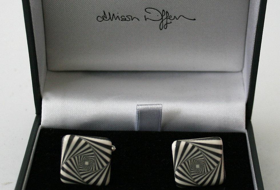 Alison Wiffen Ceramic Monochrome Squares Earrings