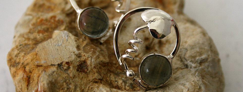 Helen West Fluorite and Silver Leaf Swirl Earrings