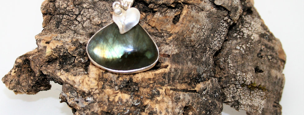 Helen West Labrodite and Silver Leaf Pendant