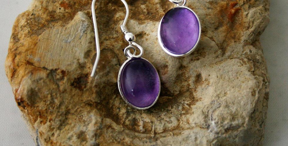 Helen West Amethyst and Silver Oval Drop Earrings