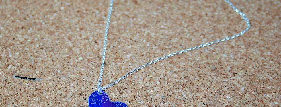 Botanicol- Coloured Aluminium Blue Heart Necklace, Small
