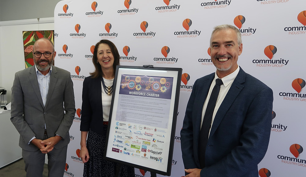 (left to right) Mark Sewell CEO Warrigal and Director & State Advisory Councillor and Regional Chair for Aged and Community Services Australia, Nicky Sloan CEO Community Industry Group, Craig Thomson CEO Community Gateway