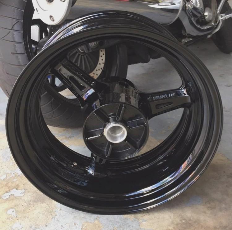 widened wheel powder coated midnight
