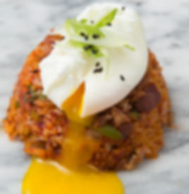 Kimchi Fried Rice (Bokkumbob):  Korean Comfort Food, Fried rice with kimchi and smoked bacon.  Soft boiled egg available