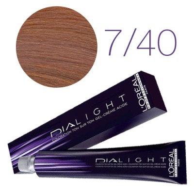 Loreal Dia Light - Краска для волос № 7.40 глубокий медный блондин, 50мл