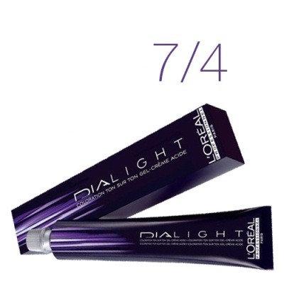 Loreal Dia Light - Краска для волос № 7.4 блондин медный, 50мл