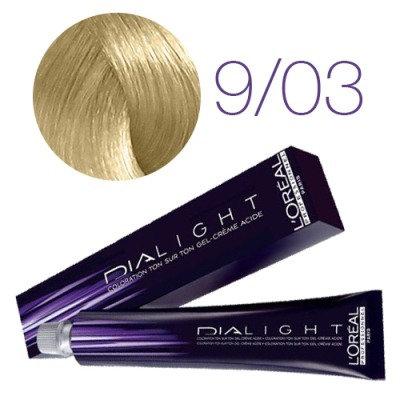 Loreal Dia Light - Краска для волос № 9.03 молочный коктейль золотистый, 50мл