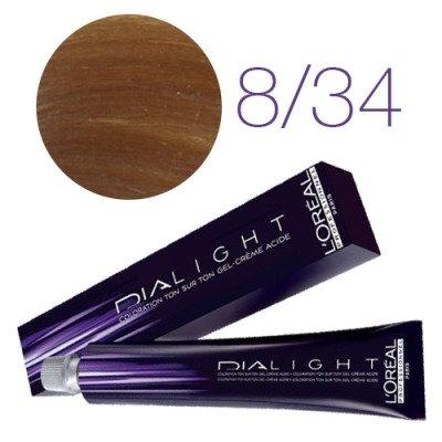 Loreal Dia Light - Краска для волос №8.34 темный блондин золотисто-медный, 50мл