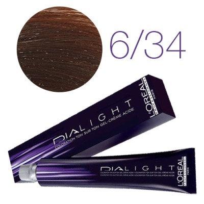 Loreal Dia Light - Краска для волос № 6.34 темный блондин золотисто медный, 50мл