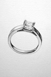 hand drawn engagement ring