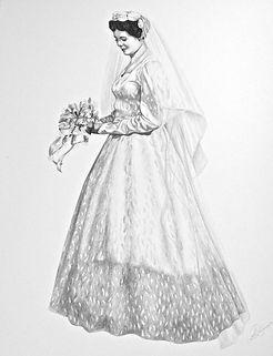 Vintage wedding pencil portrait