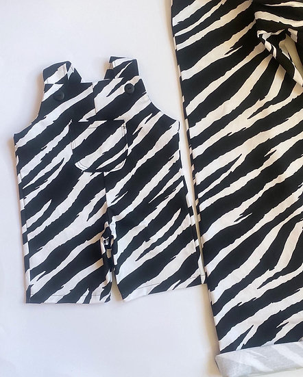 Baby Zebra or leopard print dungarees