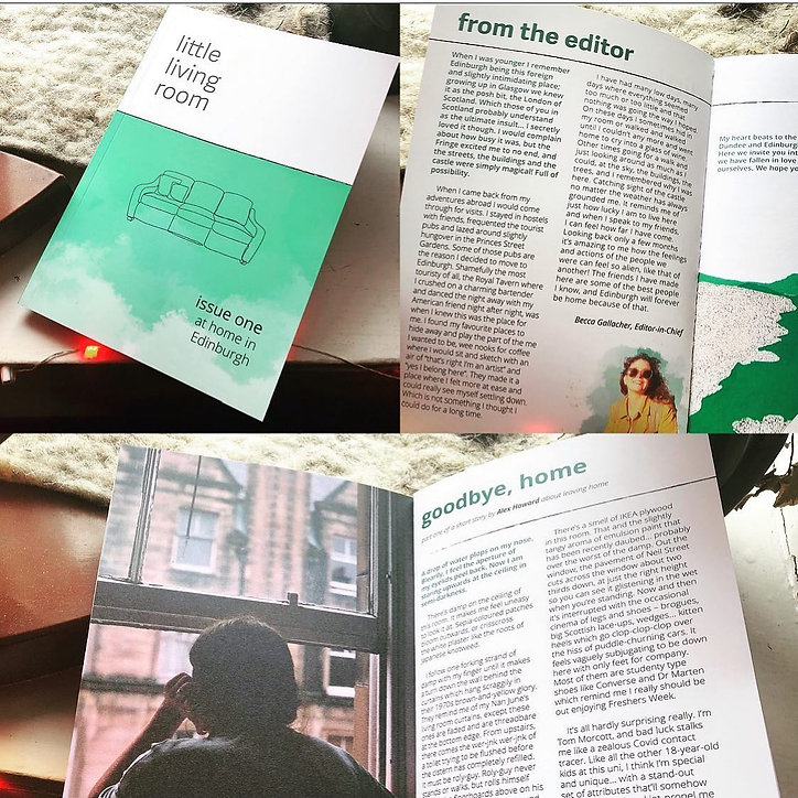 Three pictures in a collage of the first issue of the publication. The front cover and about the editor and a creative piece are shown.