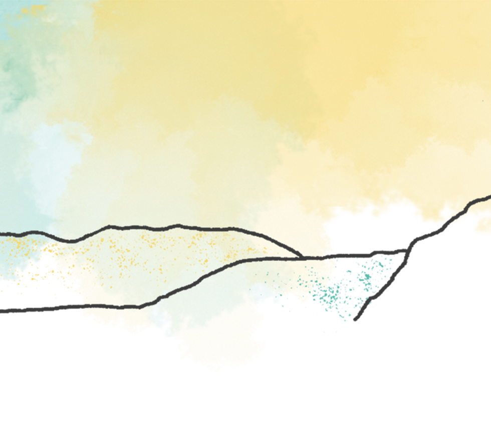 yellow and blue water colour with outline of a person sitting on top of hills.