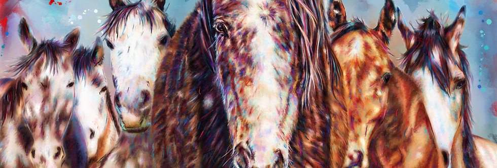 WILD HERD  30 x 15 Gallery Wrapped Canvas